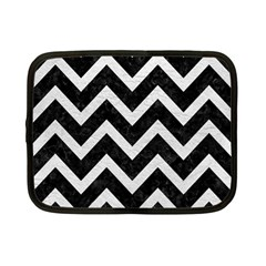 Chevron9 Black Marble & White Leather (r) Netbook Case (small)  by trendistuff