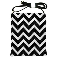 Chevron9 Black Marble & White Leather (r) Shoulder Sling Bags