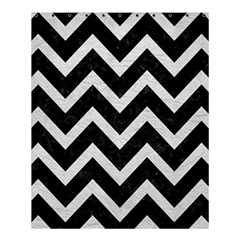 Chevron9 Black Marble & White Leather (r) Shower Curtain 60  X 72  (medium)  by trendistuff