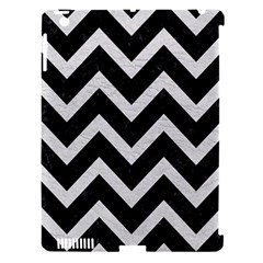 Chevron9 Black Marble & White Leather (r) Apple Ipad 3/4 Hardshell Case (compatible With Smart Cover) by trendistuff