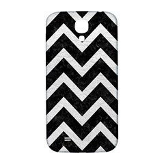 Chevron9 Black Marble & White Leather (r) Samsung Galaxy S4 I9500/i9505  Hardshell Back Case by trendistuff