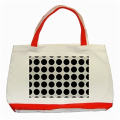 Circles1 Black Marble & White Leather Classic Tote Bag (red) by trendistuff