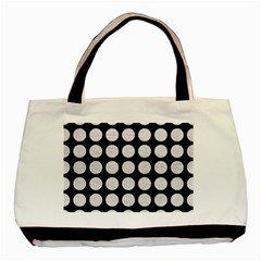 Circles1 Black Marble & White Leather (r) Basic Tote Bag by trendistuff