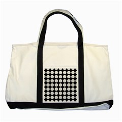 Circles1 Black Marble & White Leather (r) Two Tone Tote Bag by trendistuff