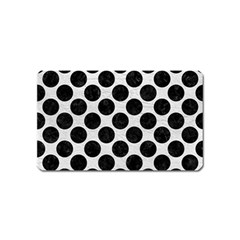Circles2 Black Marble & White Leather Magnet (name Card) by trendistuff