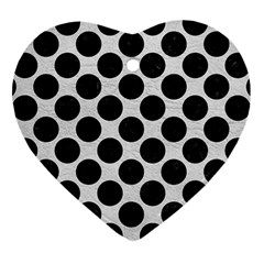 Circles2 Black Marble & White Leather Heart Ornament (two Sides) by trendistuff