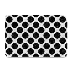 Circles2 Black Marble & White Leather Plate Mats by trendistuff