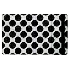 Circles2 Black Marble & White Leather Apple Ipad 3/4 Flip Case by trendistuff