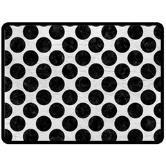 Circles2 Black Marble & White Leather Double Sided Fleece Blanket (large)