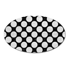 Circles2 Black Marble & White Leather (r) Oval Magnet by trendistuff