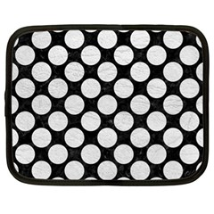 Circles2 Black Marble & White Leather (r) Netbook Case (xl)  by trendistuff