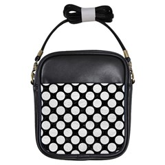 Circles2 Black Marble & White Leather (r) Girls Sling Bags by trendistuff