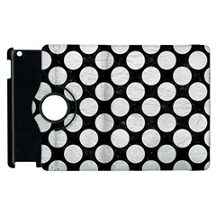 Circles2 Black Marble & White Leather (r) Apple Ipad 2 Flip 360 Case by trendistuff