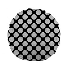 Circles2 Black Marble & White Leather (r) Standard 15  Premium Flano Round Cushions by trendistuff