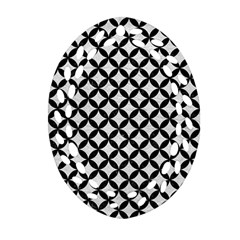 Circles3 Black Marble & White Leather Oval Filigree Ornament (two Sides) by trendistuff