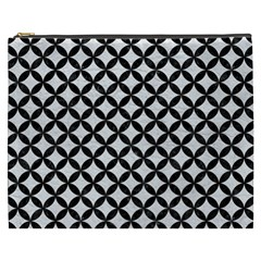 Circles3 Black Marble & White Leather Cosmetic Bag (xxxl)