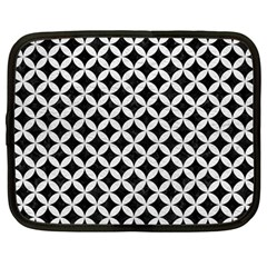 Circles3 Black Marble & White Leather (r) Netbook Case (large) by trendistuff