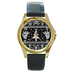 Ugly Christmas Sweater Round Gold Metal Watch by Valentinaart