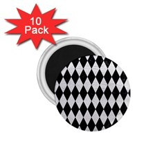 Diamond1 Black Marble & White Leather 1 75  Magnets (10 Pack)  by trendistuff