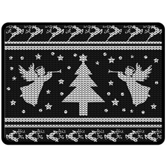Ugly Christmas Sweater Double Sided Fleece Blanket (large)  by Valentinaart