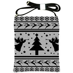 Ugly Christmas Sweater Shoulder Sling Bags by Valentinaart