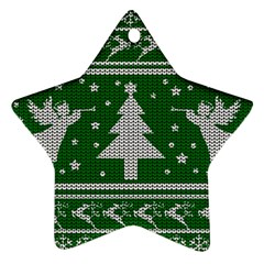 Ugly Christmas Sweater Star Ornament (two Sides) by Valentinaart