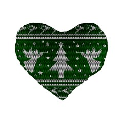 Ugly Christmas Sweater Standard 16  Premium Flano Heart Shape Cushions by Valentinaart