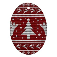 Ugly Christmas Sweater Oval Ornament (two Sides) by Valentinaart