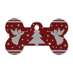 Ugly Christmas Sweater Dog Tag Bone (two Sides) by Valentinaart