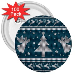 Ugly Christmas Sweater 3  Buttons (100 Pack)