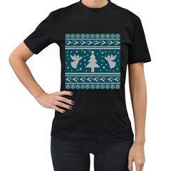 Ugly Christmas Sweater Women s T Shirt (black) by Valentinaart