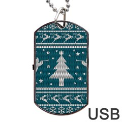 Ugly Christmas Sweater Dog Tag Usb Flash (one Side) by Valentinaart