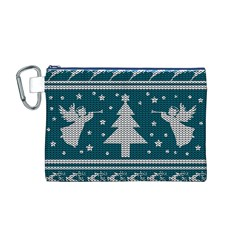 Ugly Christmas Sweater Canvas Cosmetic Bag (m) by Valentinaart