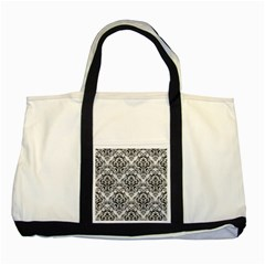 Damask1 Black Marble & White Leather Two Tone Tote Bag by trendistuff