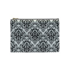 Damask1 Black Marble & White Leather Cosmetic Bag (medium)  by trendistuff