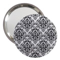 Damask1 Black Marble & White Leather 3  Handbag Mirrors by trendistuff