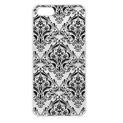 Damask1 Black Marble & White Leather Apple Iphone 5 Seamless Case (white) by trendistuff