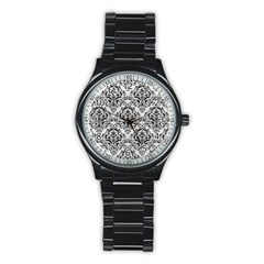 Damask1 Black Marble & White Leather Stainless Steel Round Watch by trendistuff