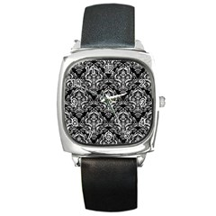 Damask1 Black Marble & White Leather (r) Square Metal Watch by trendistuff
