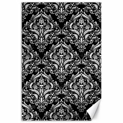 Damask1 Black Marble & White Leather (r) Canvas 24  X 36  by trendistuff