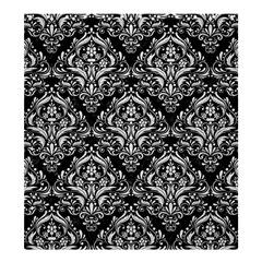 Damask1 Black Marble & White Leather (r) Shower Curtain 66  X 72  (large)  by trendistuff