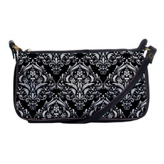 Damask1 Black Marble & White Leather (r) Shoulder Clutch Bags