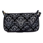 DAMASK1 BLACK MARBLE & WHITE LEATHER (R) Shoulder Clutch Bags Front