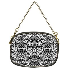 Damask2 Black Marble & White Leather Chain Purses (two Sides)  by trendistuff