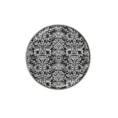 Damask2 Black Marble & White Leather (r) Hat Clip Ball Marker (10 Pack) by trendistuff
