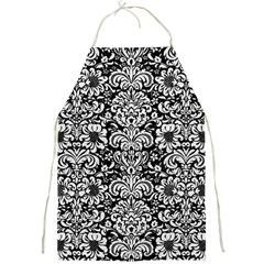 Damask2 Black Marble & White Leather (r) Full Print Aprons by trendistuff