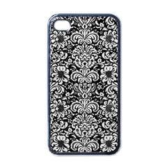 Damask2 Black Marble & White Leather (r) Apple Iphone 4 Case (black) by trendistuff