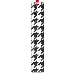 Houndstooth1 Black Marble & White Leather Large Book Marks by trendistuff