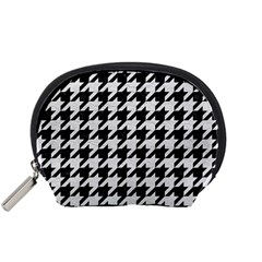 Houndstooth1 Black Marble & White Leather Accessory Pouches (small)  by trendistuff