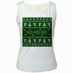 Ugly Christmas Sweater Women s White Tank Top